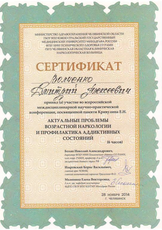Сертификат Волченко Д.А.